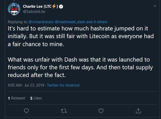 charlie lee litecoin instamine deleted tweet