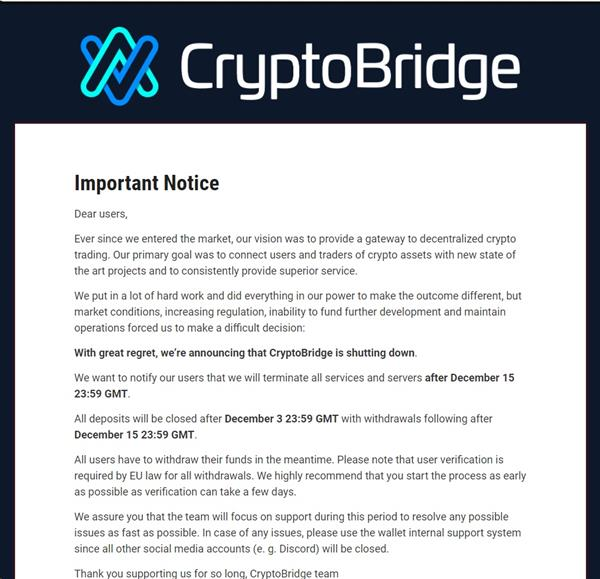 Crypto Bridge last day for withdrawals