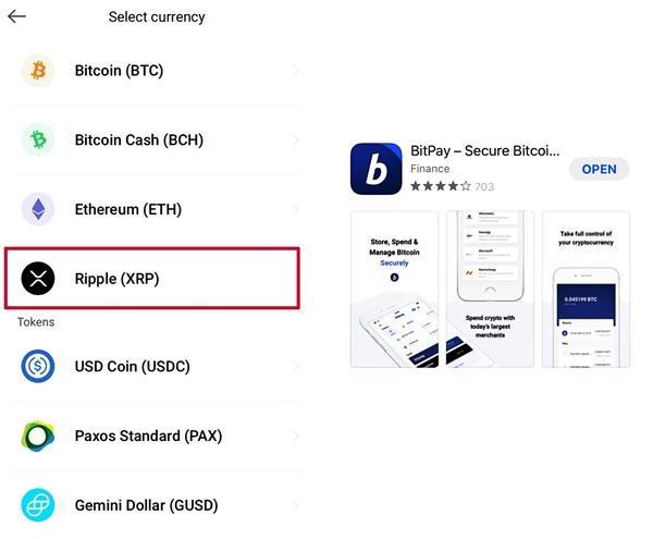 BitPay wallet ripple