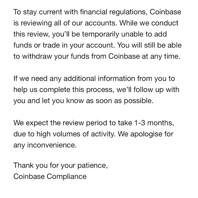 coinbase freezing funds